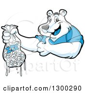 Cartoon Polar Bear Mascot Holding A Thumb Up And Bag Of Ice