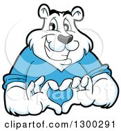 Clipart Of A Cartoon Polar Bear Mascot Forming A Love Heart With His Hands Royalty Free Vector Illustration by LaffToon