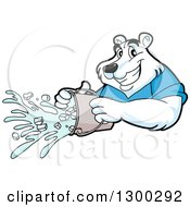 Clipart Of A Cartoon Polar Bear Mascot Pouring An Ice Bucket Royalty Free Vector Illustration by LaffToon