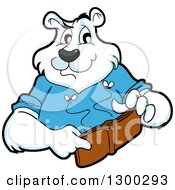 Cartoon Polar Bear Mascot Holding An Empty Wallet With Moths