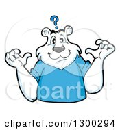 Clipart Of A Cartoon Polar Bear Mascot Shrugging Under A Question Mark Royalty Free Vector Illustration by LaffToon