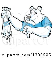Clipart Of A Cartoon Polar Bear Mascot Holding A Broken Bag Of Ice And Thumb Down Royalty Free Vector Illustration by LaffToon