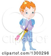 Clipart Of A Cute Blue Eyed Red Haired Caucasian Prince Holding A Flower Behind His Back Royalty Free Vector Illustration by Pushkin