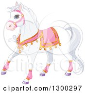 Clipart Of A Cute White Princess Royal Horse In Pink Gear Royalty Free Vector Illustration