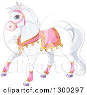 Cute White Princess Royal Horse In Pink Gear