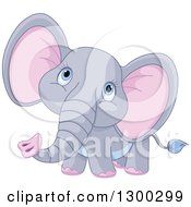 Clipart Of A Cute Gray Baby Elephant With Pink Ears Looking Upwards Royalty Free Vector Illustration