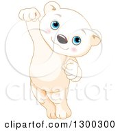 Clipart Of A Cute Baby Polar Bear Cub Jumping Royalty Free Vector Illustration