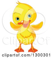 Clipart Of A Cute Yellow Duck With Blue Eyes Royalty Free Vector Illustration