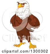 Clipart Of A Handsome Bald Eagle Standing With Hands On His Hips Royalty Free Vector Illustration