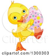 Clipart Of A Cute Yellow Duck Walking With An Easter Egg Royalty Free Vector Illustration