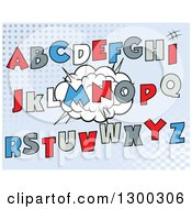 Clipart Of Cartoon Comic Design Capital Alphabet Letters Over A Burst On Halftone Royalty Free Vector Illustration