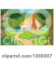 Clipart Of A Cute Cottage Cabin In The Woods Royalty Free Vector Illustration by Pushkin