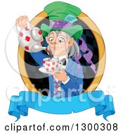 Gray Haired Mad Hatter Pouring Tee In A Checkered Oval Over A Blank Blue Banner