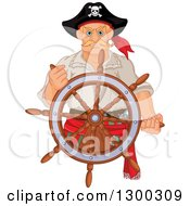Clipart Of A Tough Blond White Male Pirate Captain Steering At A Ships Helm Royalty Free Vector Illustration by Pushkin