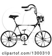 Clipart Of A Black And White Woodcut Bicycle In Profile Royalty Free Vector Illustration