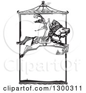 Clipart Of A Black And White Woodcut Woman Standing On A Leaping Horse Under A Carousel Roof In A Circus Act Royalty Free Vector Illustration