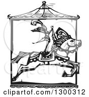 Clipart Of A Black And White Woodcut Woman Standing On A Leaping Carousel Horse In A Circus Act Royalty Free Vector Illustration
