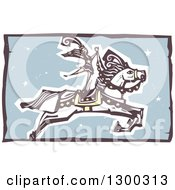 Clipart Of A Woodcut Performing Woman Standing On A Leaping Horse In A Circus Act Royalty Free Vector Illustration