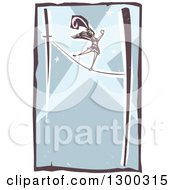 Clipart Of A Woodcut Woman Walking The Tight Rope In A Circus Act With Spotlights Royalty Free Vector Illustration