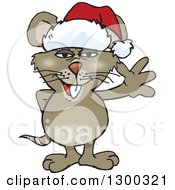 Cartoon Happy Brown Rat Wearing A Christmas Santa Hat And Waving