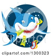 Clipart Of A Blue And White Shark Eating Snorkel Gear In A Circle Royalty Free Vector Illustration by Alex Bannykh
