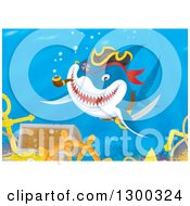 Clipart Of A Grinning Pirate Shark Smoking A Pipe Over A Sunken Treasure And Ship Wreck Royalty Free Illustration by Alex Bannykh