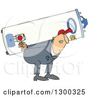 Clipart Of A Chubby White Worker Man Carrying A Gas Water Heater Royalty Free Vector Illustration by Dennis Cox