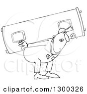 Outline Clipart Of A Chubby Black And White Worker Man Carrying A Gas Water Heater Royalty Free Lineart Vector Illustration by Dennis Cox