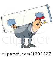 Clipart Of A Chubby White Worker Man Carrying An Electric Water Heater Royalty Free Vector Illustration by Dennis Cox