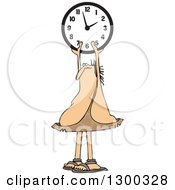 Clipart Of A Chubby Caveman Holding Up A Wall Clock Royalty Free Vector Illustration