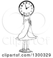 Outline Clipart Of A Black And White Chubby Caveman Holding Up A Wall Clock Royalty Free Lineart Vector Illustration