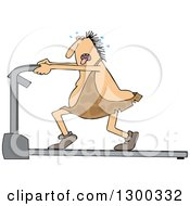 Clipart Of A Chubby Caveman Panting Sweating And Running On A Treadmill Royalty Free Vector Illustration by djart