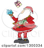 Clipart Of A Christmas Santa Claus Juggling Wrapped Gifts Royalty Free Vector Illustration