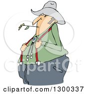 Clipart Of A Cartoon Chubby White Male Farmer Holding His Suspenders And Chewing On Straw Royalty Free Vector Illustration by djart