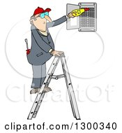 Cartoon Caucasian Electrician Man Standing On A Ladder And Checking A Breaker Panel Box