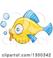 Clipart Of A Profiled Yellow Fish With Blue Fins And Bubbles Royalty Free Vector Illustration