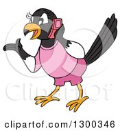 Talkative Female Magpie Bird Wearing Pink Gesutring And Talking On A Cell Phone