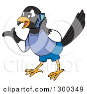 Clipart Of A Talkative Male Magpie Bird Wearing Blue Gesutring And Talking On A Cell Phone Royalty Free Vector Illustration by LaffToon