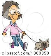 Cartoon White Woman Happily Walking Her Little Dog