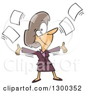 Clipart Of A Cartoon White Business Woman Tossing Up Papers And Ready For Retirement Royalty Free Vector Illustration
