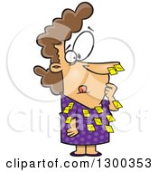 Clipart Of A Cartoon Forgetful White Business Woman With Sticky Notes All Over Her Dress And Nose Royalty Free Vector Illustration