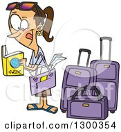 Clipart Of A Cartoon Excited Traveling Brunette White Woman Reading A Guide By Luggage Royalty Free Vector Illustration