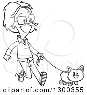 Lineart Clipart Of A Cartoon Black And White Woman Happily Walking Her Little Dog Royalty Free Outline Vector Illustration