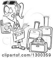 Lineart Clipart Of A Cartoon Black And White Excited Traveling Woman Reading A Guide By Luggage Royalty Free Outline Vector Illustration