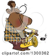 Clipart Of A Cartoon Black Male Musician Playing A Saxophone Royalty Free Vector Illustration by toonaday