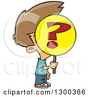 Clipart Of A Cartoon Anonymous Brunette White Boy Holding A Question Mark Sign Over His Face Royalty Free Vector Illustration
