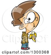 Clipart Of A Cartoon Brunette White Boy Eating A Banana Royalty Free Vector Illustration by toonaday