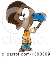 Clipart Of A Cartoon Thirsty Black Boy Drinking From A Cup Royalty Free Vector Illustration by toonaday