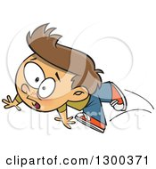 Clipart Of A Cartoon Clumsy Brunette White Boy Tripping And Falling Royalty Free Vector Illustration