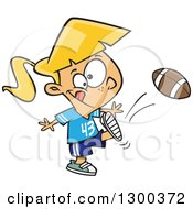 Clipart Of A Cartoon Blond White Tom Boy Girl Kicking A Football Royalty Free Vector Illustration by toonaday